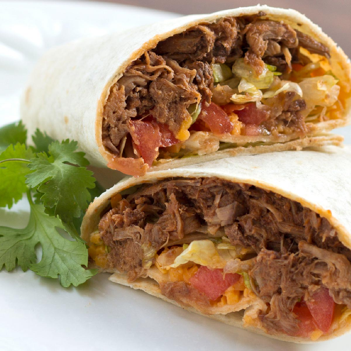 A beef burrito cut in half on a white plate