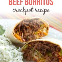 A beef burrito cut in half on a white plate with rice with text Seasoned Beef Burritos Crockpot Recipe - Add Salt & Serve