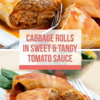 Composite image: Top is closeup of cabbage rolls in a tomato sauce on a white plate with a fork. Bottom is cabbage rolls in a tomato sauce on a white plate with a fork. Text is Cabbage Rolls in Sweet & Tangy Tomato Sauce - Add Salt & Serve logo