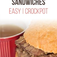 A roast been sandwich with a small bowl of au jus; text French Dip Sandwiches Easy | Crockpot - Add Salt & Serve logo