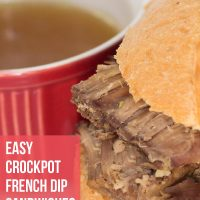 A roast been sandwich with a small bowl of au jus; text Easy Crockpot French Dip Sandwiches - Add Salt & Serve logo