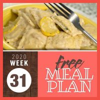 Meal Plan for Week 31 2020: July 27-30