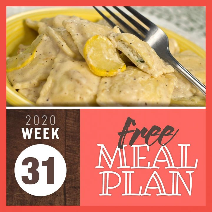 cheese ravioli in cream sauce with squash and text free meal plan 2020 week 31