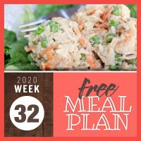 Rice, vegetable, and chicken salad with text Free Meal Plan Week 32 2020