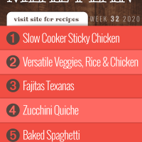 Free Meal Plan for Week 32 2020: Slow Cooker Sticky Chicken, Versatile Veggies and Rice with Chicken, Fajitas Texanas, Zucchini Quiche, Baked Spaghetti - visit Add Salt & Serve for recipes