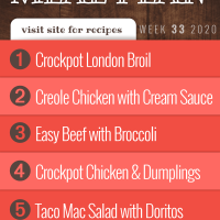 Free Meal Plan for Week 33: Crockpot London Broil, Creole Chicken with Green Chili Cream Sauce, Easy Beef with Broccoli over Rice, Easy Crockpot Chicken and Dumplings, Taco Mac Salad with Doritos- visit Add Salt & Serve for recipes