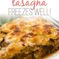 slice of baked zucchini lasagna with text Zucchini Lasagna freezes well