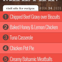Free Meal Plan for Week 34 2020: Chipped Beef Gravy overButtermilk Biscuits, Baked Honey and Lemon Chicken, Tuna Casserole, Chicken Pot Pie, Creamy Balsamic Meatballs over Egg Noodles - visit Add Salt & Serve for recipes
