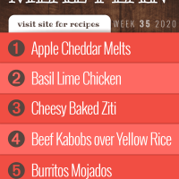 Free Meal Plan for Week 35 2020: Apple Cheddar melts, Basil Lime Chicken, Cheesy Baked Ziti, Beef Kabobs over Yellow Rice, Burritos Mojados - visit Add Salt & Serve for recipes
