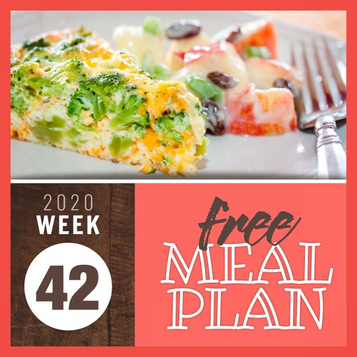 broccoli and cheese quiche with text free meal plan week 42 2020