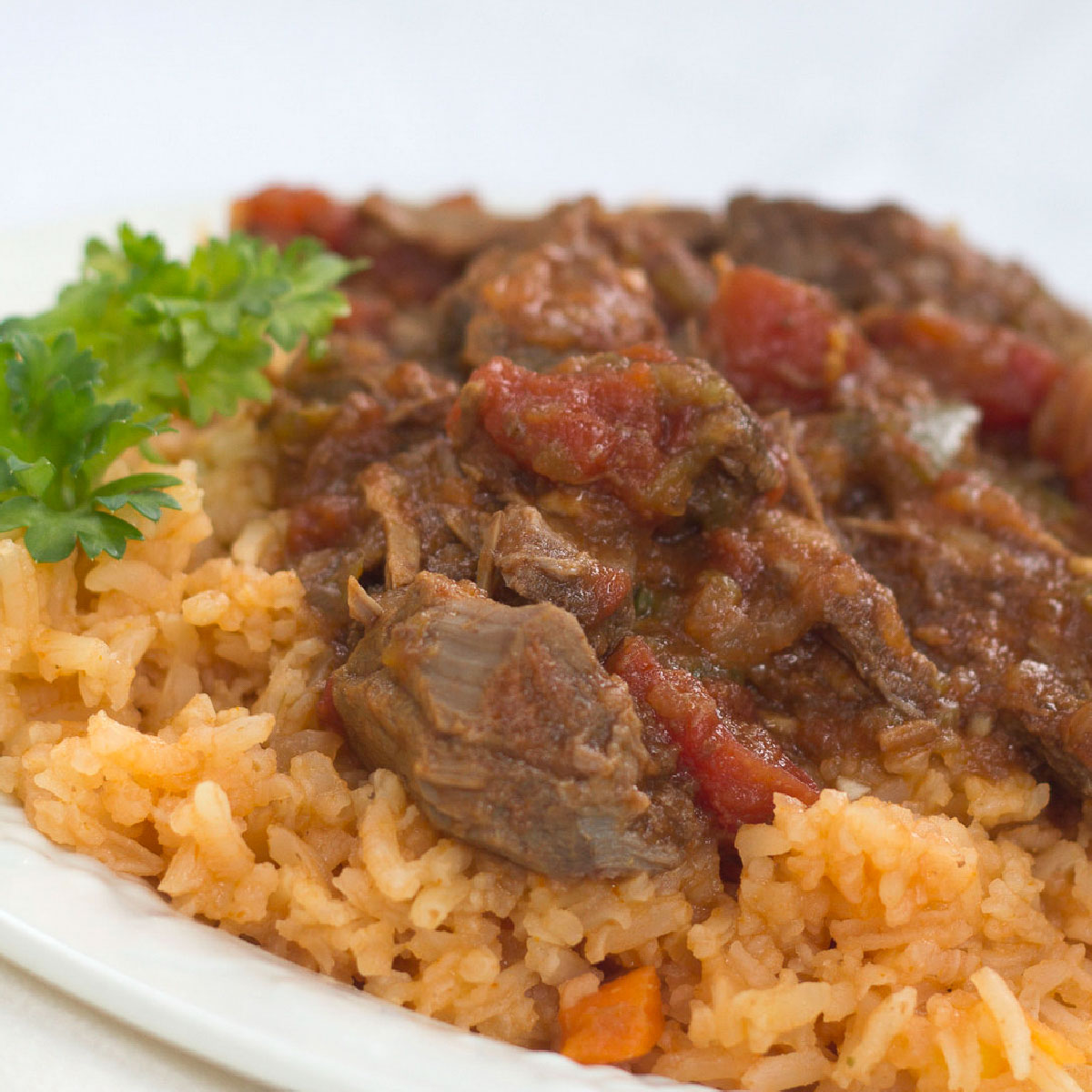 Ropa Vieja stew on a bed of rice