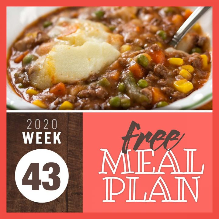 Baked Hamburger Pie with text Free Meal Plan Week 43 2020