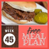 Barbecue beef sandwich with text free meal plan Week 45 2020