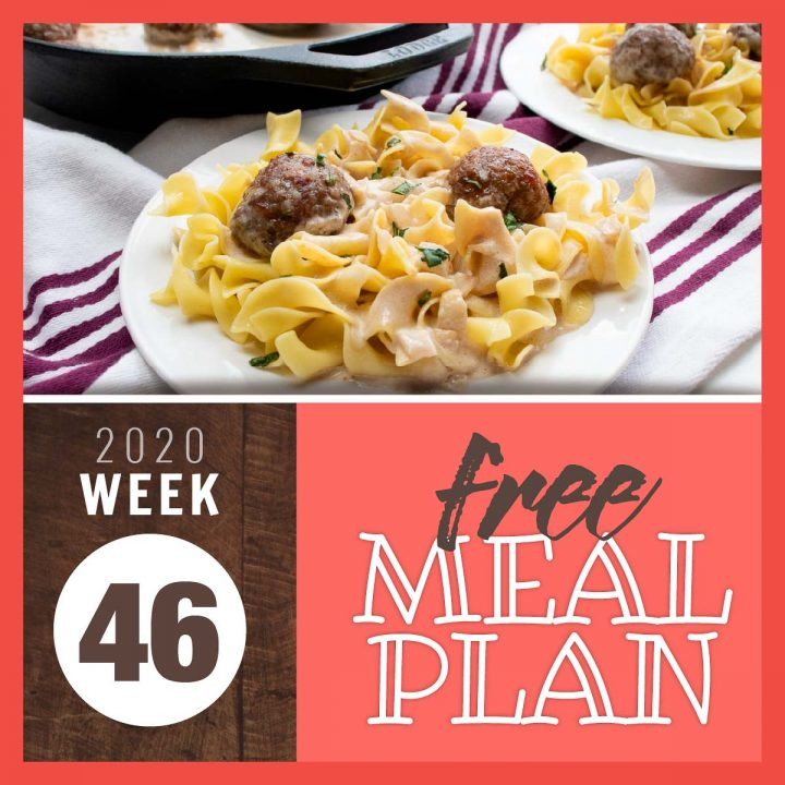 Balsamic meatballs over egg noodles with text free meal plan for week 46 2020