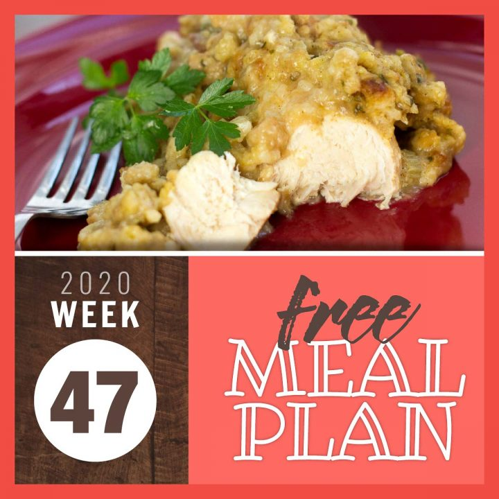 Crockpot Chicken with Stuffing and text Free Meal Plan for Week 47 2020