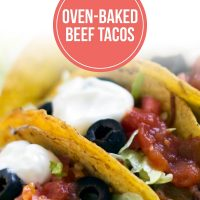 Hard-shell tacos with beef, lettuce, olives, salsa, and sour cream