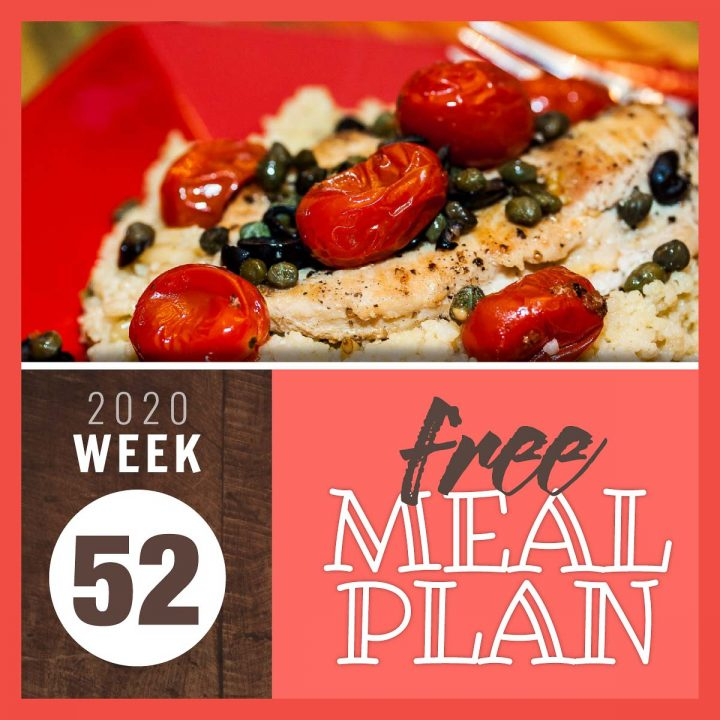 Mediterranean Chicken with text free meal plan Week 52 2020