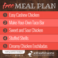 Meal Plan for Week 4 (Group 1)