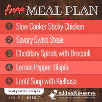 Meal Plan for Week 7 (Group 1)