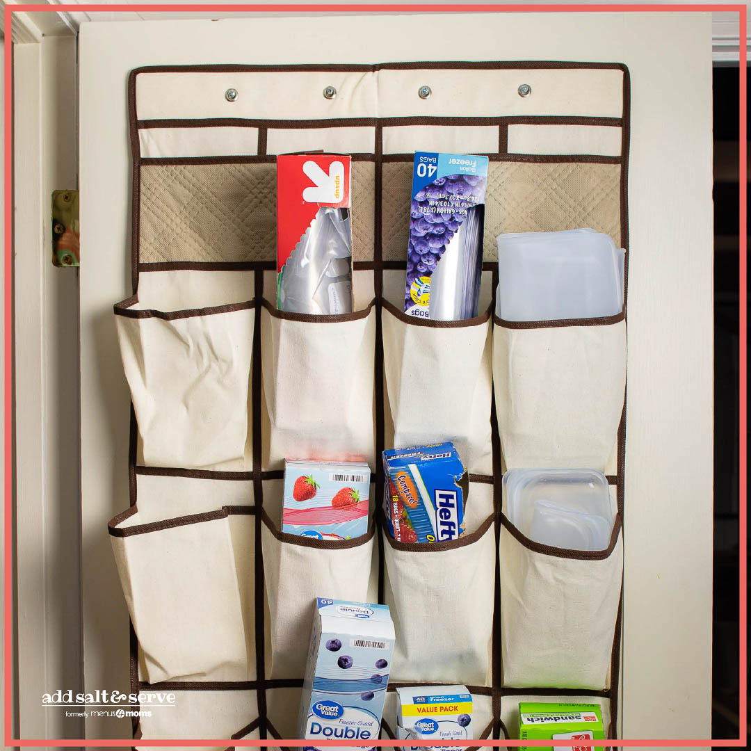 repurposed shoe organizer with food baggies in the pockets