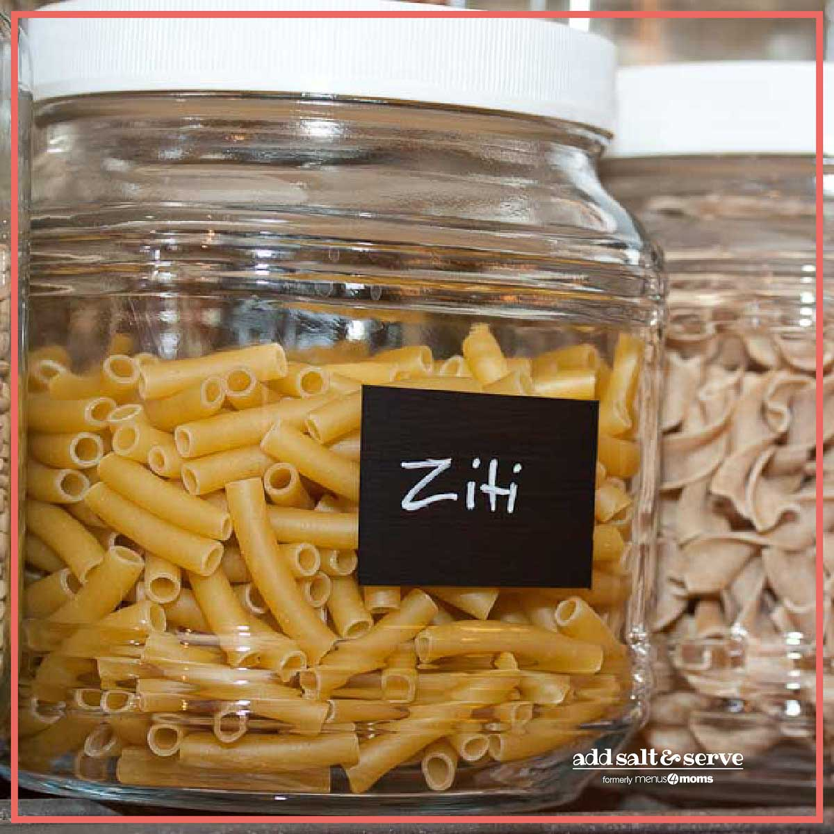 Glass jar filled with ziti with a chalkboard paint label and ziti written in chalk paint