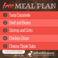 Meal Plan for Week 16 (Group 1)
