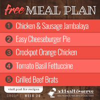 Meal Plan for Week 20 (Group 1)