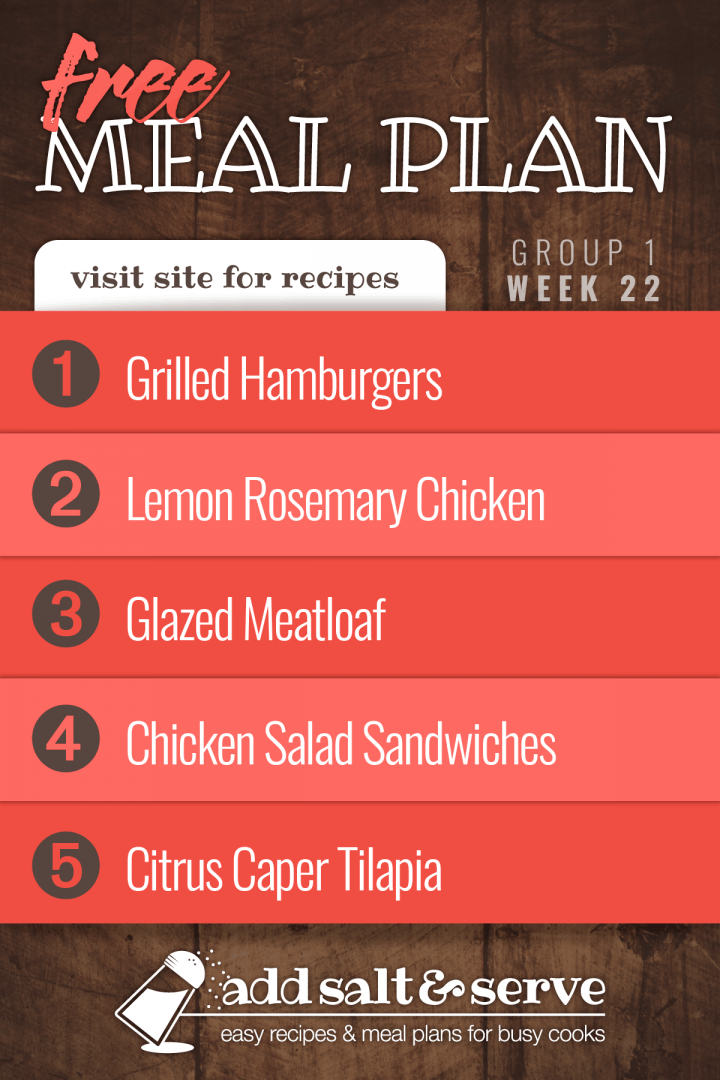 Meal Plan for Week 22 (Group 1): Grilled Hamburgers, Lemon Rosemary Chicken, Glazed Meatloaf, Chicken Salad Sandwiches, and Citrus Caper Fish