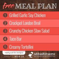 Meal Plan for Week 29 (Group 1)