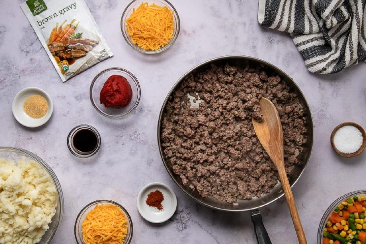 browned ground beef and onion