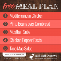 Meal Plan for Week 31 (Group 1)