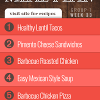 Meal Plan for Week 33 (Group 1): Healthy Lentil Tacos, Pimento Cheese Sandwiches, Barbecue Roasted Chicken, Quick & Easy Mexican Style Soup, Barbecue Chicken Pizza