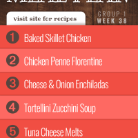 Meal Plan for Week 38 (Group 1): Baked Skillet Chicken, Three Cheese Chicken Penne Florentine, Cheese Enchiladas, Tortellini Zucchini Soup, Tuna Cheese Melts