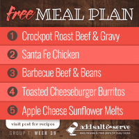 Meal Plan for Week 39 (Group 1)