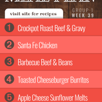 Meal Plan for Week 39 (Group 1): Easy Crockpot Roast Beef & Gravy, Santa Fe Chicken, Barbecue Beef and Beans, Toasted Cheeseburger Burritos, Apple Cheese Sunflower Melts
