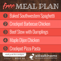 Meal Plan for Week 40 (Group 1)
