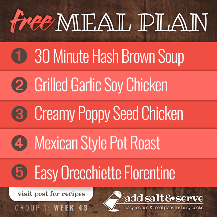Meal Plan for Week 43 (Group 1): 30 Minute Hash Brown Soup, Grilled Chicken with Garlic Soy Marinade, Creamy Poppy Seed Chicken, Mexican Style Pot Roast, Easy Orecchiette Florentine