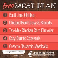 Meal Plan for Week 44 (Group 1)