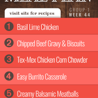 Meal Plan for Week 44 (Group 1): Basil Lime Chicken, Chipped Beef Gravy, Tex-Mex Chicken Corn Chowder, Burrito Casserole, Creamy Balsamic Meatballs