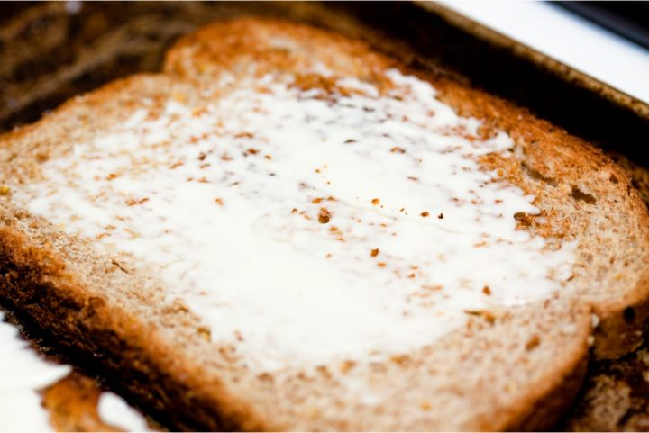 Toast spread with mayo and text Add Salt & Serve
